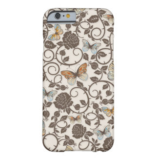 Coque iPhone 6 Barely There Cas de l'iPhone 6 de papillons et de roses