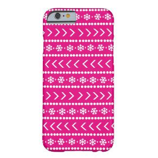 Coque iPhone 6 Barely There Cas rocailleux de téléphone de neige - rose indien