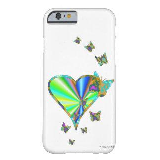 Coque iPhone 6 Barely There Coeur et papillon d'arc-en-ciel
