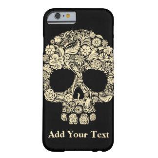 Coque iPhone 6 Barely There Crâne floral noir et blanc de sucre de monogramme