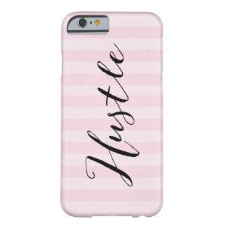 """Coque iPhone 6 Barely There """"Dépêchez-vous"""" le cas rayé rose d'Iphone 6"""