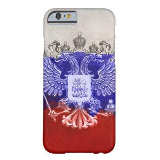 Coque iPhone 6 Barely There Drapeau peint affligé de la Russie avec Eagle