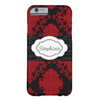 Coque iPhone 6 Barely There Empreinte de léopard rouge et noir de damassé