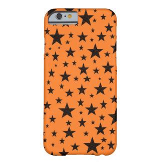 Coque iPhone 6 Barely There Étoiles de noir avec l'arrière - plan orange