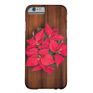 Coque iPhone 6 Barely There Fleur rouge de Noël sur le brun
