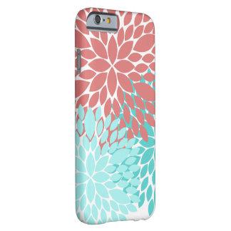 Coque iPhone 6 Barely There Girly turquoise de corail de cas de téléphone de