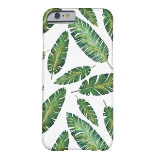 Coque iPhone 6 Barely There La banane d'aquarelle part du motif tropical d'été