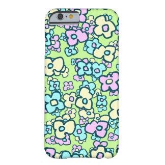 Coque iPhone 6 Barely There Le bleu jaune rose fleurit le style à main levée