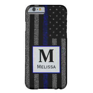 Coque iPhone 6 Barely There Le monogramme Blue Line mince grunge diminuent