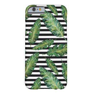 Coque iPhone 6 Barely There Le noir barre le motif tropical d'été de feuille