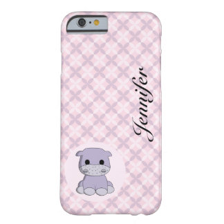Coque iPhone 6 Barely There Le nom mignon de bande dessinée d'hippopotame de