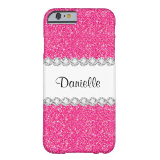 Coque iPhone 6 Barely There Le scintillement rose Girly fait sur commande