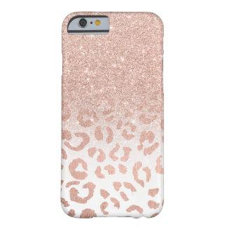 Coque iPhone 6 Barely There Léopard rose d'ombre de scintillement d'or de faux