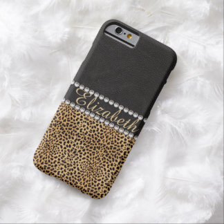 Coque iPhone 6 Barely There Les diamants de fausse pierre de tache de léopard