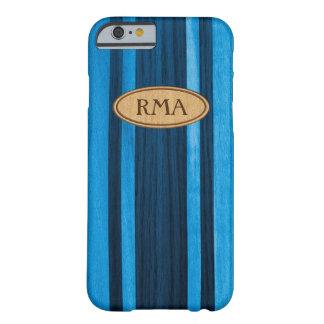 Coque iPhone 6 Barely There Monogramme en bois de planche de surf de Faux