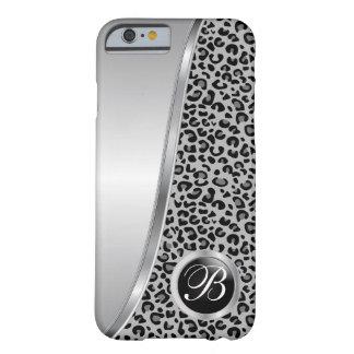 Coque iPhone 6 Barely There Monogramme noir et gris de l'empreinte de léopard