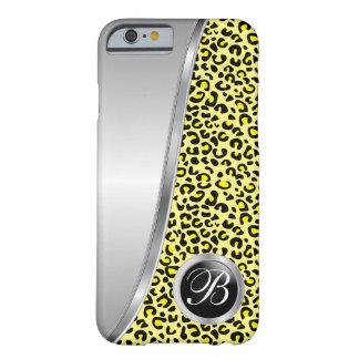 Coque iPhone 6 Barely There Monogramme noir et jaune de l'empreinte de léopard