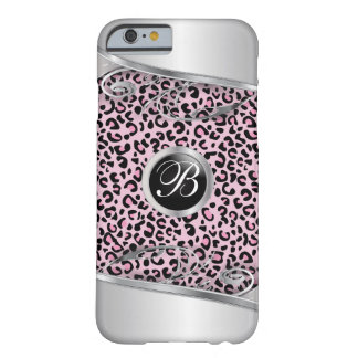 Coque iPhone 6 Barely There Monogramme rose de l'impression | de léopard et en