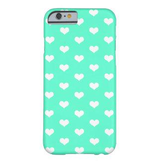 Coque iPhone 6 Barely There Motif blanc de coeurs sur Girly vert en bon état
