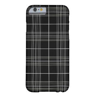 Coque iPhone 6 Barely There Motif blanc noir élégant simple de plaid de tartan