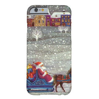 Coque iPhone 6 Barely There Noël vintage, cheval Sleigh ouvert du père noël