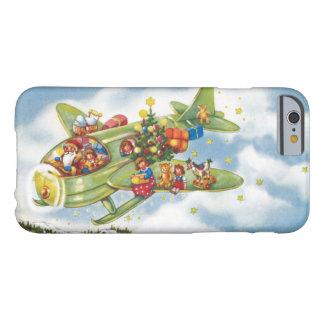 Coque iPhone 6 Barely There Noël vintage, le père noël pilotant un avion