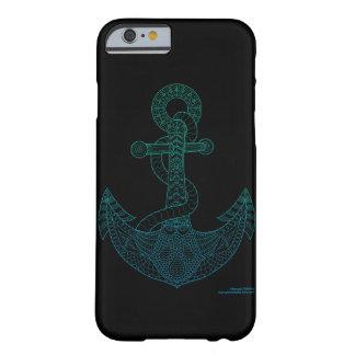 Coque iPhone 6 Barely There Noir bleu d'Ombre d'art d'ancre de mer nautique
