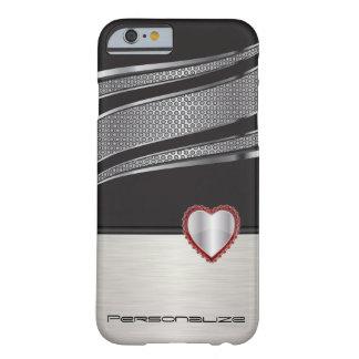 Coque iPhone 6 Barely There Noir et argenté élégants avec le bijou rouge de