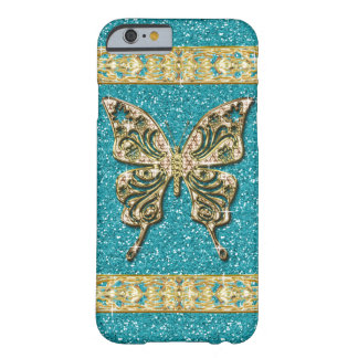 Coque iPhone 6 Barely There Papillon d'or de parties scintillantes bleues