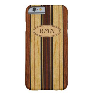 Coque iPhone 6 Barely There Planche de surf en bois de monogramme de Koa de