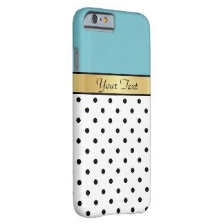 Coque iPhone 6 Barely There Pois blanc du Curaçao et noir bleu nommé fait sur