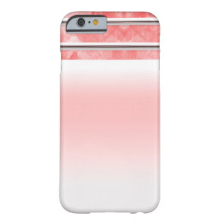 Coque iPhone 6 Barely There Rayure de corail orange moderne d'aquarelle