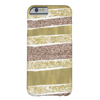 Coque iPhone 6 Barely There Rayures abstraites de scintillement de Faux d'or