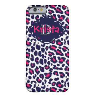 Coque iPhone 6 Barely There Rose et empreinte de léopard de marine avec le