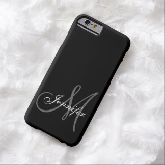 COQUE iPhone 6 BARELY THERE SIMPLE, NOIR, GRIS VOTRE MONOGRAMME VOTRE NOM