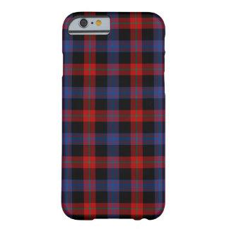 Coque iPhone 6 Barely There Tartan de bleu royal et de rouge de clan de Brown