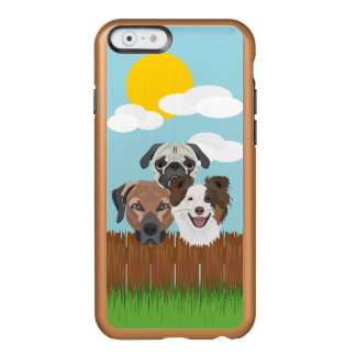 Coque iPhone 6 Incipio Feather® Shine Chiens chanceux d'illustration sur une barrière en