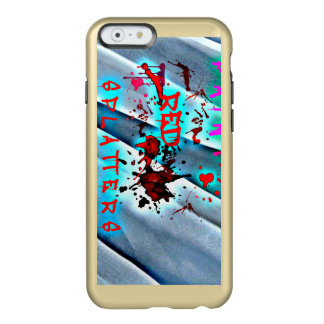 Coque iPhone 6 Incipio Feather® Shine La peinture rouge éclabousse la caisse bleue de