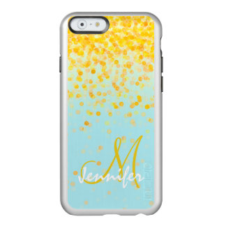 Coque iPhone 6 Incipio Feather® Shine Nom jaune d'or Girly d'ombre de turquoise de