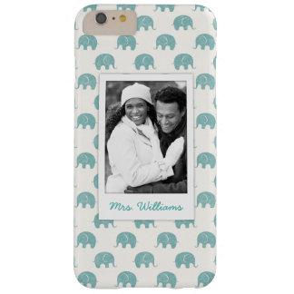 Coque iPhone 6 Plus Barely There Ajoutez votre motif turquoise mignon d'éléphant de