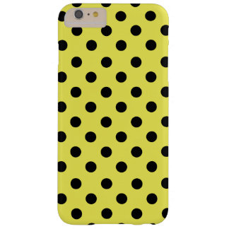 Coque iPhone 6 Plus Barely There Black polka dots in yellow