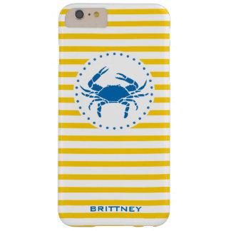 Coque iPhone 6 Plus Barely There Jaune | décoré d'un monogramme rayé de crabe bleu