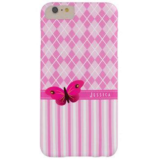 Coque iPhone 6 Plus Barely There Papillon assez rose Girly de Jacquard et de