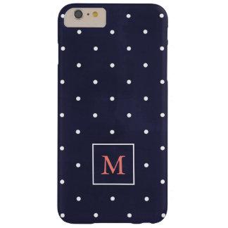 Coque iPhone 6 Plus Barely There Pois sur le monogramme de corail profond du bleu  