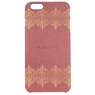 Coque iPhone 6 Plus Cuir rouge vintage avec le cadre de dentelle d'or