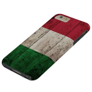 Coque iPhone 6 Plus Tough Drapeau de l'Italie sur le vieux grain en bois