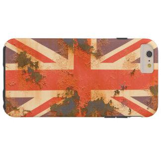 Coque iPhone 6 Plus Tough Le cru s'est rouillé drapeau du Royaume-Uni