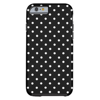 Coque iPhone 6 Tough Arrière - plan noir de petit pois blanc