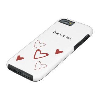 Coque iPhone 6 Tough Cas personnalisable de l'iPhone 6 : Coeurs rouges