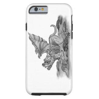 Coque iPhone 6 Tough Conception noire et blanche de gargouille de Golem